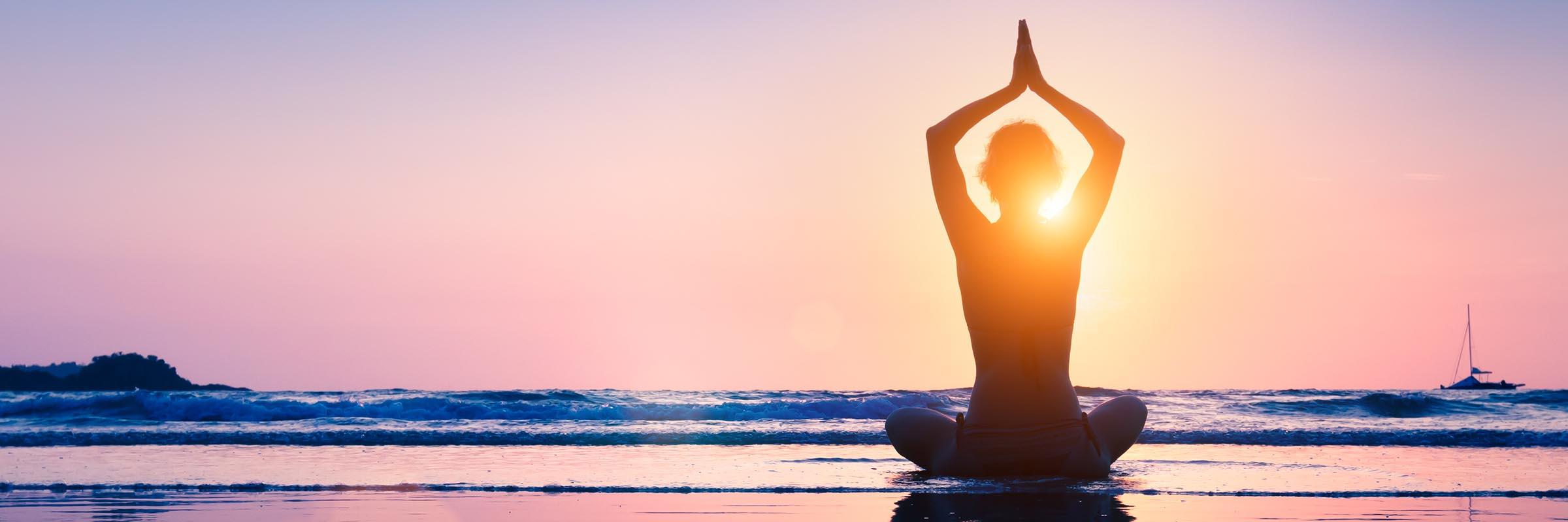 Yogi on the Beach at Sunset