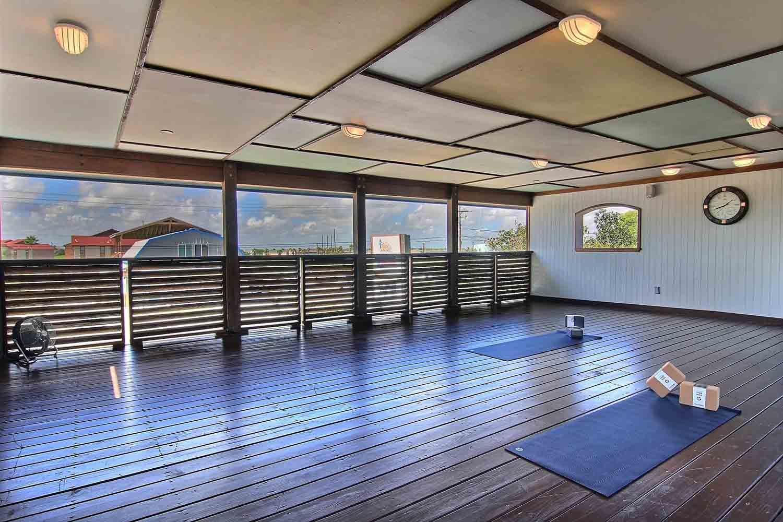 The yoga studio at Port A Yoga in Port Aransas