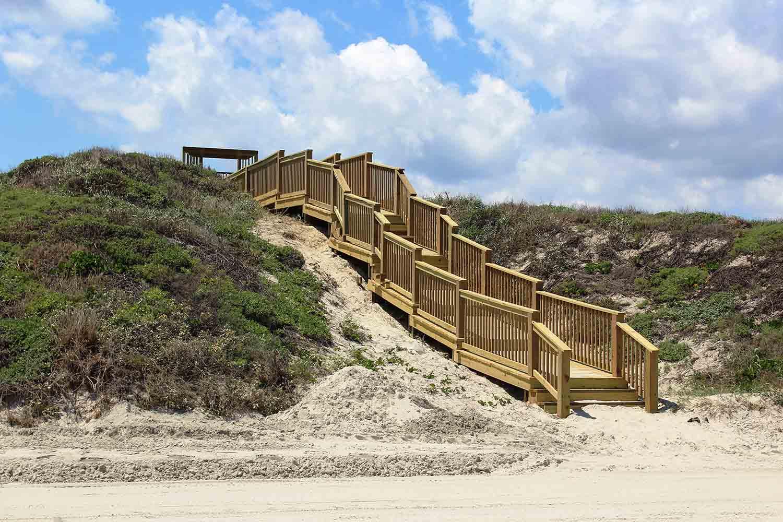 Stairs on the beach at Port Aranasas