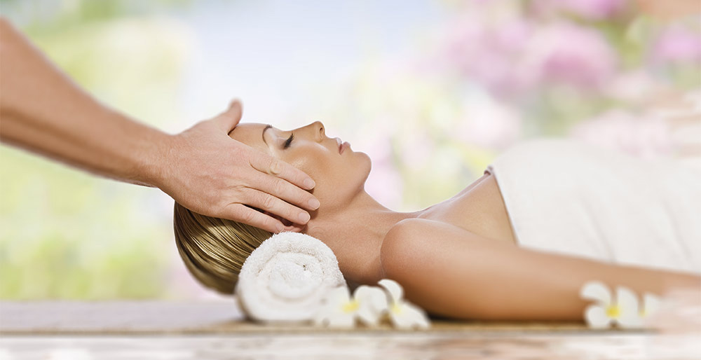 Woman getting a relaxing massage at the spa