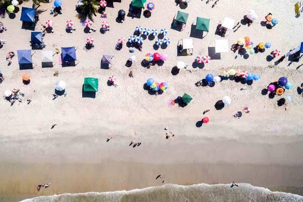Visitors on Port Aransas Beach
