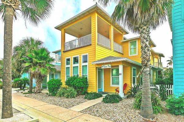 Yellow beach house downtown Port Aransas