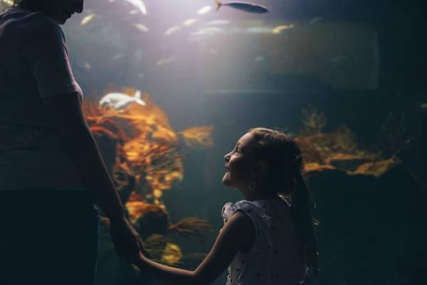 girl and mom at aquarium